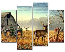 4 Panels HD Printed On Canvas Art Animal Painting Wild Elk Wall Pictures For Living Room Decorative