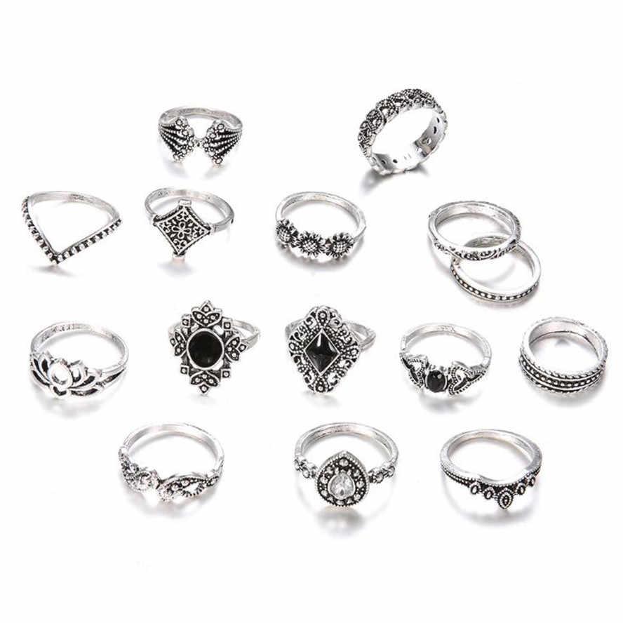 คุณภาพสูง 1 เซ็ต 15 ชิ้น Bohemian Retro คริสตัลดอกไม้ Hollow Lotus อัญมณีแหวนเงินชุดสำหรับงานแต่งงานของขวัญครบรอบ