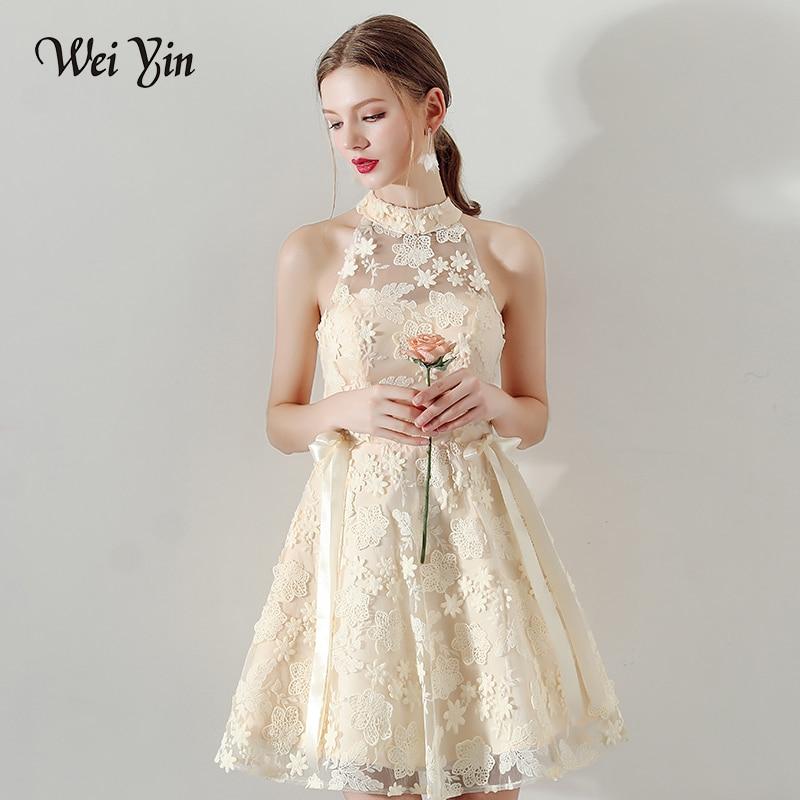 9598e9adbbd6e WEIYIN Vintage Lace Short Mini Prom Dresses 2019 Scoop Neck Ribbon Women  Formal Party Gowns For Women Vestidos De Festa
