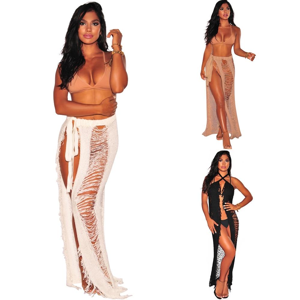 2018 Новый модные, пикантные кисточкой Для женщин юбки выдалбливают длинная юбка пояса леди пол Длина S/M/L /XL ...