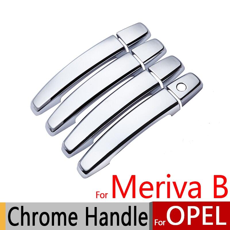 Prix pour Pour Opel Meriva B Chrome Poignée De Porte Couvre L'équilibre Set tous les Modèle Vauxhall Crossvan 2014 2015 Accessoires De Voiture Autocollants De Voiture style