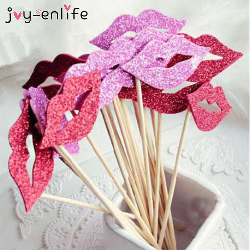 JOY-ENLIFE 10 Pcs Lucu Bibir EVA DIY Photo Booth Alat Peraga Dewasa Lajang Pesta Hen Pesta Pengantin Mandi Pesta Pernikahan Decortation