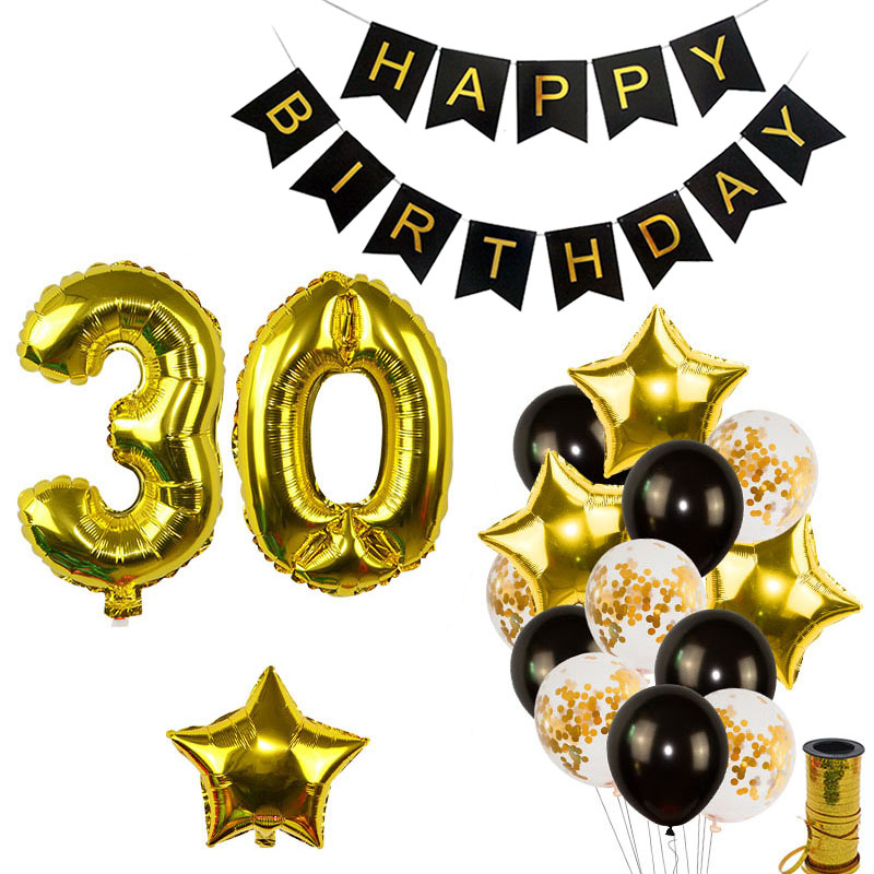 Black Gold Happy Birthday Banner Balloons With Helium Number Foil Balloon for Baby Party Decorations