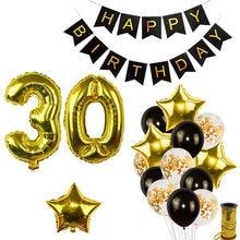 Ouro preto feliz aniversário banner balões número de hélio folha balão para o bebê menino crianças adulto 18 30 decorações da festa de aniversário
