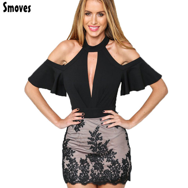 Smoves Sexy Gargantilha Alta Plunge Pescoço V Keyhole Ruffle Manga Comprida Cut out Shoulder Mulheres Bodysuits Rompers Playsuits Macacões Nova