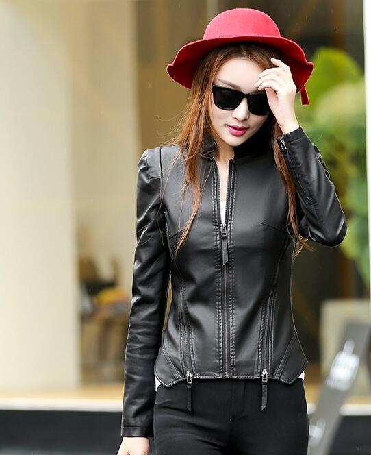 2018 New Autumn Leather Jacket Women Black Color Mandarin Collar Zippers Short Female Faux Leather Jackets 6
