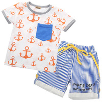2016 Wholesale Summer Baby Kids Boys Clothes Short Sleeve Cartoon Tops Striped Shorts Outfits Sets 1