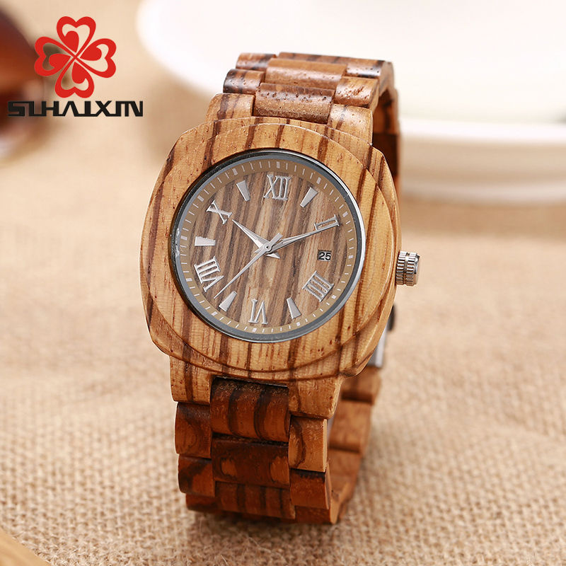 SIHAIXINClassic Mens Watches Nature Ebony Wood Roman Numerals Quartz Wristwatch Date Bracelet Male Wooden Clock For Men Gift Box