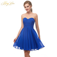 BeryLove Simple Short Royal Blue Homecoming Dresses 2019 Mini Chiffon Homecoming Gowns Graduation Dress For Party Junior Dresses