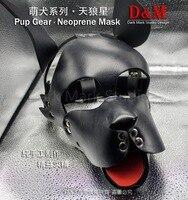 (DM16241)Top quality pup gear neoprenee dog slave mask fetish hood accessory equipment