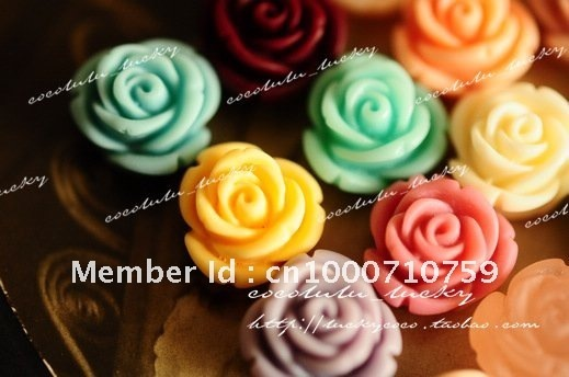 2012 Hot selling cute 11 mm 16 colors Resin rose for DIY Accessory/mobilephone decoration Wholesale 100pcs/lot