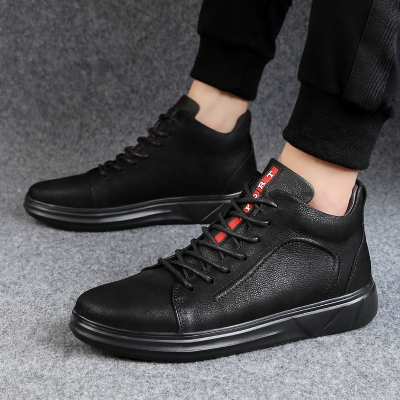 Men Casual Genuine Leather Shoes Top Quality Autumn Winter Short Bootie Waterproof Sneakers Lace Up Flats Plus Size 37-47