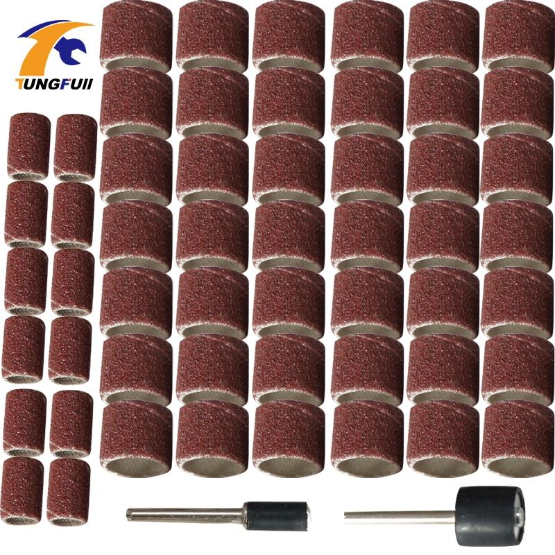 100Pcs Dremel Accessories 6.35mm 12.7mm Drum Sanding Kit +2Pcs Sanding Band Sand Mandrel For Rotary Tool Nail Drill Bits