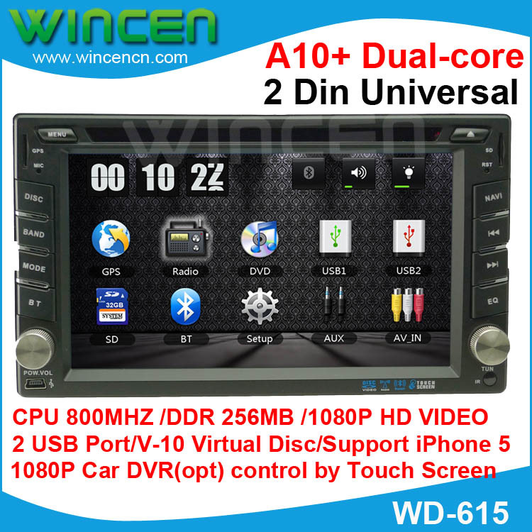 2015 !!! 6.2″  1080p Car DVD GPS Player for  2 Din Universal with A10+ Dual Core Iphone 5/6 Support 10 EQ V-10 Disc Car DVR(opt)