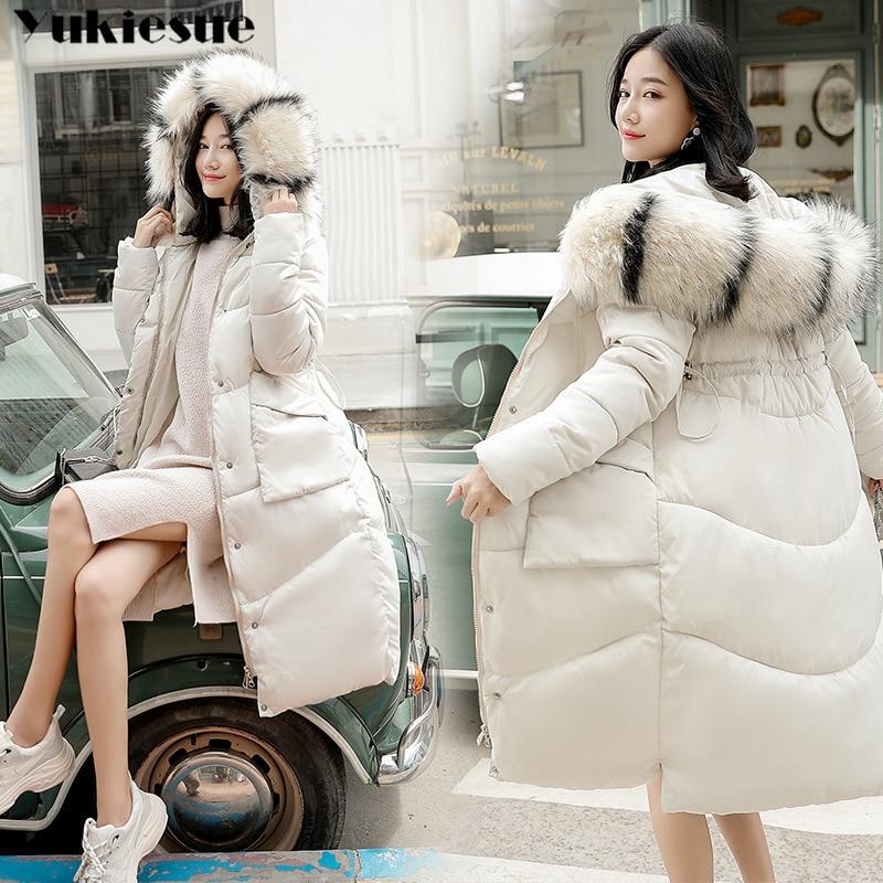 2018 New winter jacket women long coat female ladies overcoat   Parka   fur collar Cotton Padded Warm Coat Plus Size High Quality