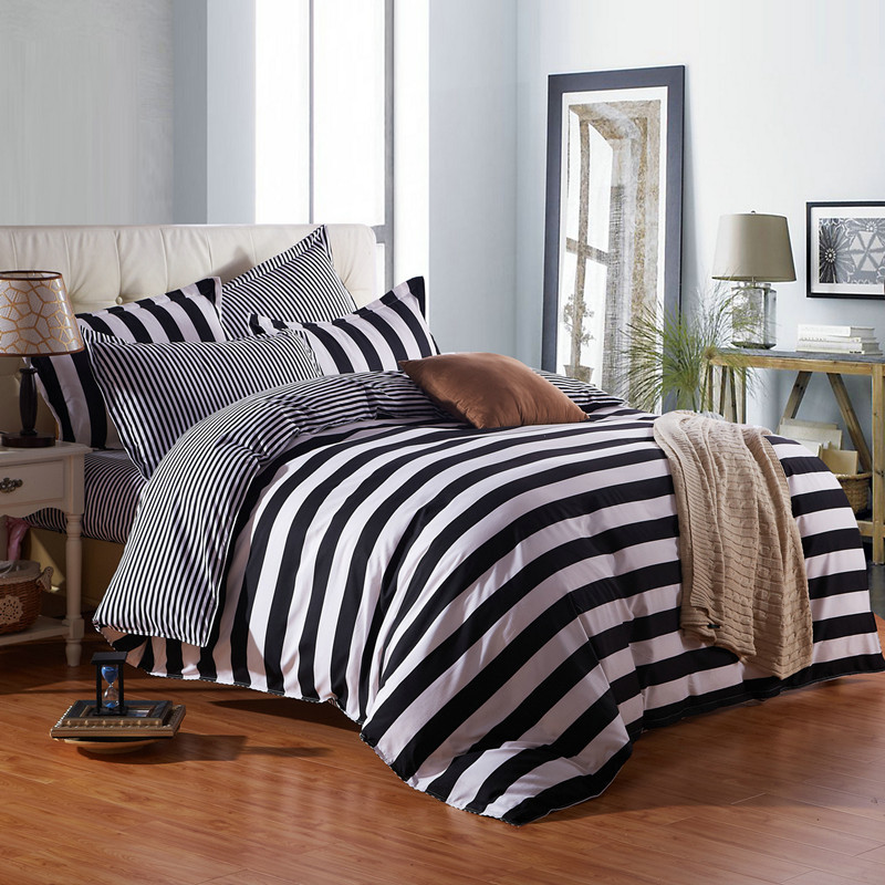 Black and white stripes king queen kids size soft comfortable cotton bedding set duvet cover bed sheet pillow cases-bedspreadBlack and white stripes king queen kids size soft comfortable cotton bedding set duvet cover bed sheet pillow cases-bedspread
