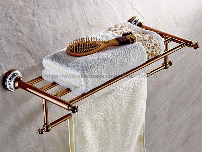 Double Rose Gold Wall Mounted Bathroom Towel Rail Holder Shelf Storage Rack Bar Bathroom Accessories Bba383 colorvalue solid sport fitness leggings women high stretchy yoga pants nylon mesh gym athletic leggings with triangle crotch
