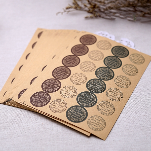 240Pcs Vintage Special Selected Handmade Cake Packaging Sealing Label Kraft Sticker Baking DIY Work Gift Round Stickers M1046