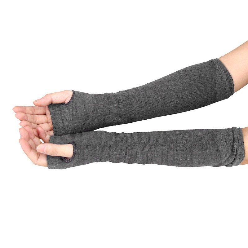 Newly Lady Stretchy Soft Knitted Wrist Arm Warmer Long Sleeve Fingerless Gloves Striped DO99