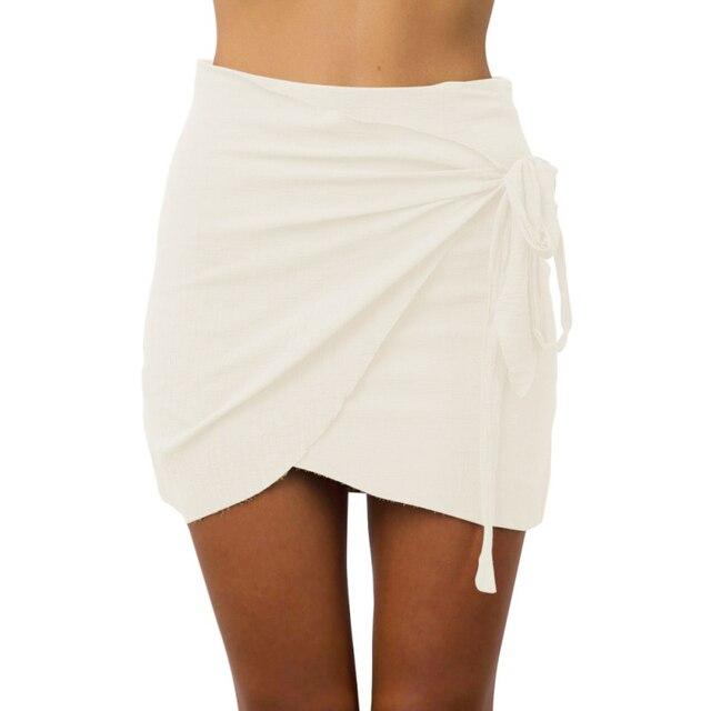 eaa9a3c2da93 Women Vintage Irregular Halter High Waist Skirt Wrap Linen Fabric Skirts  2017 Summer Tie up Beach Short Skirt 5 Colors S-XL Size
