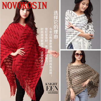 Autumn 2018 Knitted Women Fashion Hollow Out Shawl 3 Style Tassel Black White Poncho Loose Long Cardigan gorgeous tassel hollow out choker