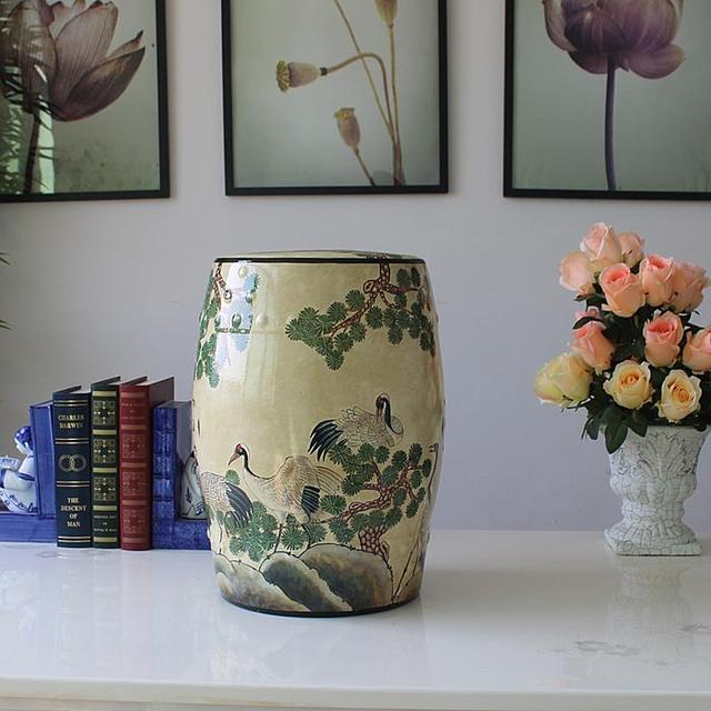 China Painting Red Crowned Crane Ceramic Painting Drum Porcelain Garden  Stool Glazed Ceramic Chinese Porcelain