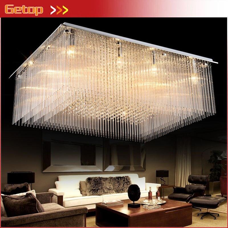 US $294.2 15% OFF|ZX Rechteck Luxus Kristall Halle Großes Deckenleuchte LED  Kreative Wohnzimmer Restaurant Pendelleuchte Ingenieurwesen Innen Lampe-in  ...