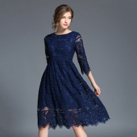 Autumn Sexy Lace Dress Women Female Hollow Out High Waist Robes Vestidos De Festa Blue Elegant