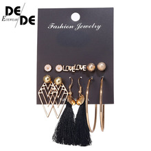 6 Pcs/Set Fashion Geometric Vintage Stud Earrings For Woman Contrast Tassel Round Gold Black Color Set Jewelry