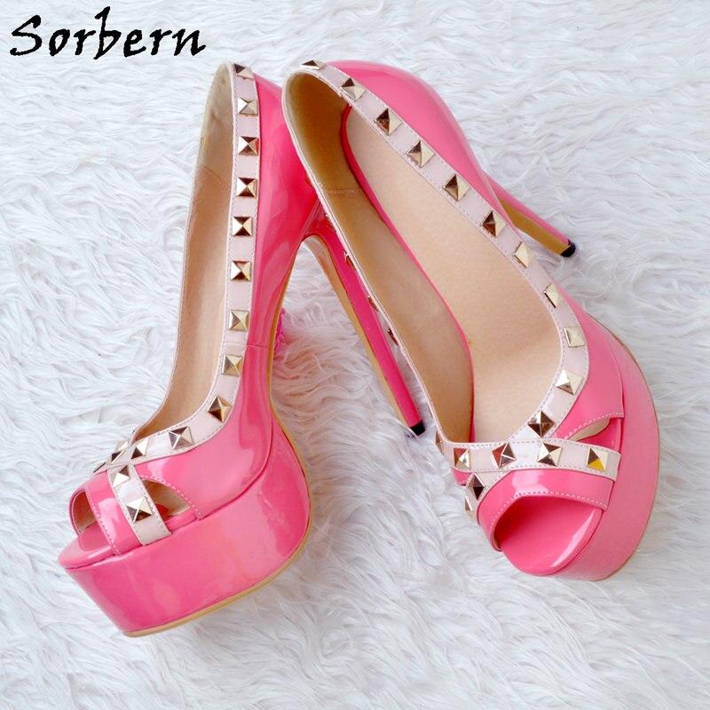 Señoras Sorbern rosy Alto Red Del Pie Cuero Tamaño Service Remaches Plataforma Custom Las Slip En Mujeres De Dedo Peep Plus Bombas Tacón Zapatos Fucsia rTqrfw