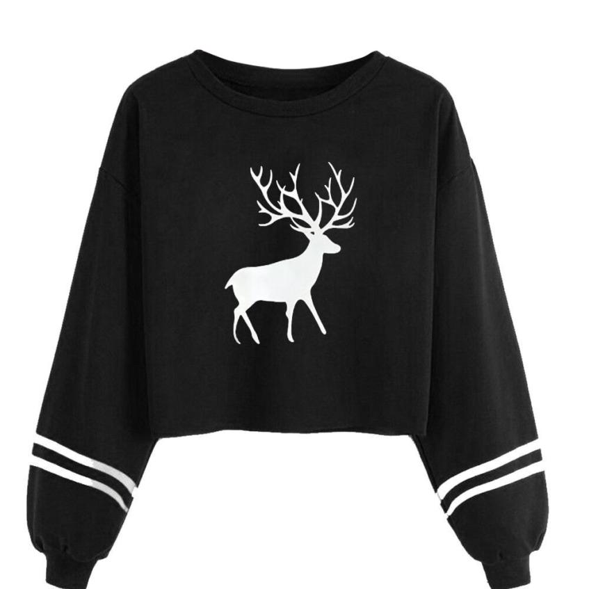 2018 Winter Christmas Newest arrive Blusa Feminina Women Casual Long Sleeve O Neck Deer Print Sweatshirt Tops Blouse TW