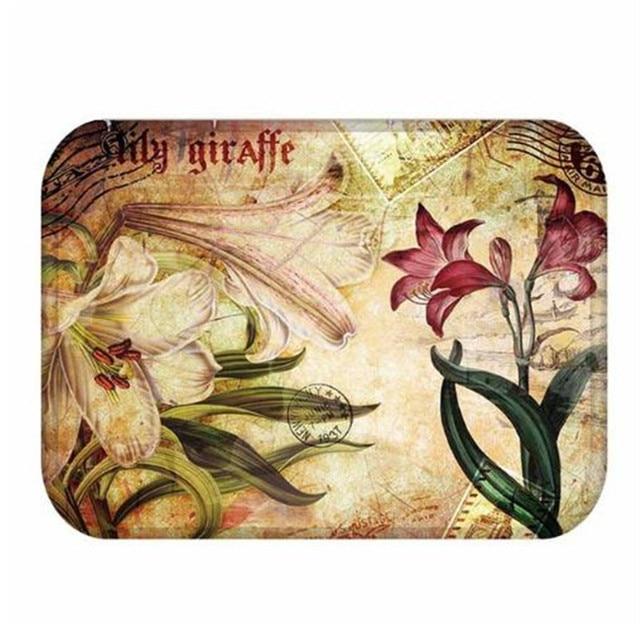 40*60cm Paris londres motif de fleurs anti-dérapant daim tapis tapis de porte paillasson extérieur cuisine salon tapis de sol