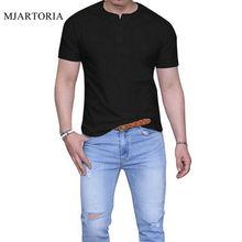 MJARTORIA 2019 Summer Men's Casual Slim Fit T Shirts Button Short Sleeve Placket Plain Henley T Shirts Male Fashion Button Tops недорого