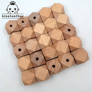 25pcs Beech Wood Bead Unfinished Natural 20mm Geometric hexagonal Wooden Beads For DIY Baby Teether Nacklace chenkai 100pcs 20mm wooden unfinished beads geometric hexagon beads natural beads for diy baby teether nacklace accessories