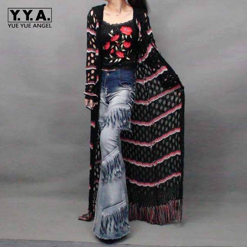 Italian Style Spliced Women Knitted Long Sweater Tassels Maxi Cardigan Hollow Out Female Casual Cap Maxi Poncho Outwear Coats Jade White