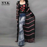 Italian Style Spliced Women Knitted Long Sweater Tassels Maxi Cardigan Hollow Out Female Casual Cap Maxi Poncho Outwear Coats