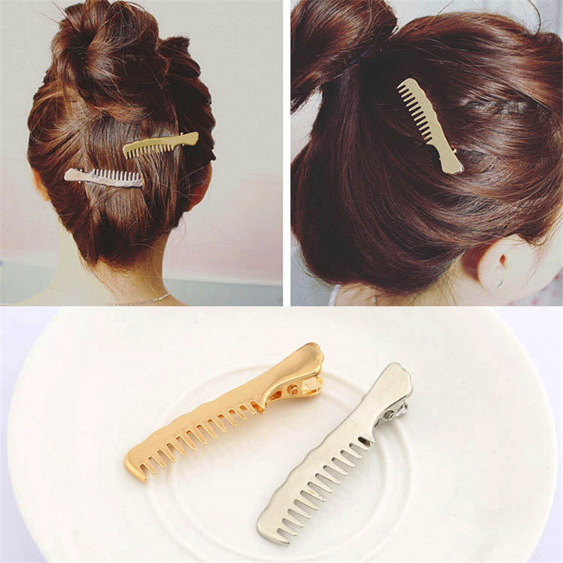 Hot Sale Novelty Hair Clip Comb Simple Fashion Slip Korean jewelry Metal Small Duckbill pins DIY Styling Accessories