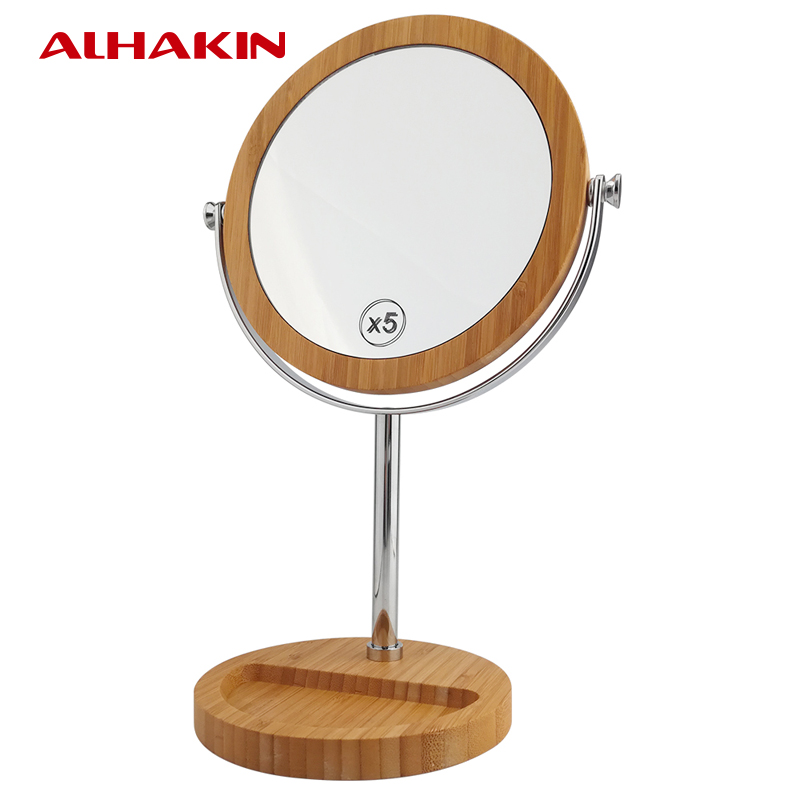 alhakin 7 inch professional makeup mirror wood mirror 1 5x double sides portable mirror table. Black Bedroom Furniture Sets. Home Design Ideas