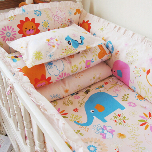 New 10 pcs Cartoon Baby Bedding Set,Infant Baby Elephant Bedding,Comfortable Mattress Baby Crib Pillow Sheet,Bumpers in the Crib