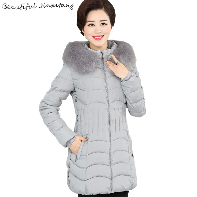 2017 New Arrival New Large-size Coat Female Winter Jacket Women Long-sleeved Thickening Slim Middle-aged And Old Coats K76 A3 new brand women s middle aged and old long down jacket female bigger sizes mother fur collar clothing winter coat printing hot