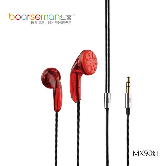 Boarseman MX98 Hifi In Ear Earphone 3.5MM High Qaulity Flat Head Earbuds In Ear Headset Dynamic Earbuds
