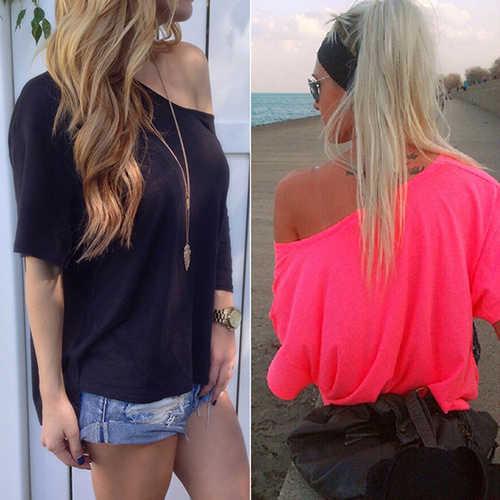 נשים הקיץ סקסי צבע טהור חולצות העליונה שרוול קצר רופף כתף