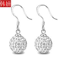 New Fashion Earring 925 pure silver drop earring Crystal earrings wedding earrings jewelry free shipping