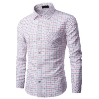 Yeni marka giyim Erkekler ekose Gömlek Uzun Kollu Üst kalite slim fit tasarımcı iş moda Erkek Gömlek