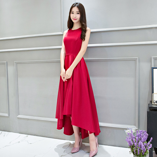 de4bb074ffb0 bridemaides women formal satin bridal gowns bridesmaids dresses wine red  long high low gown from china