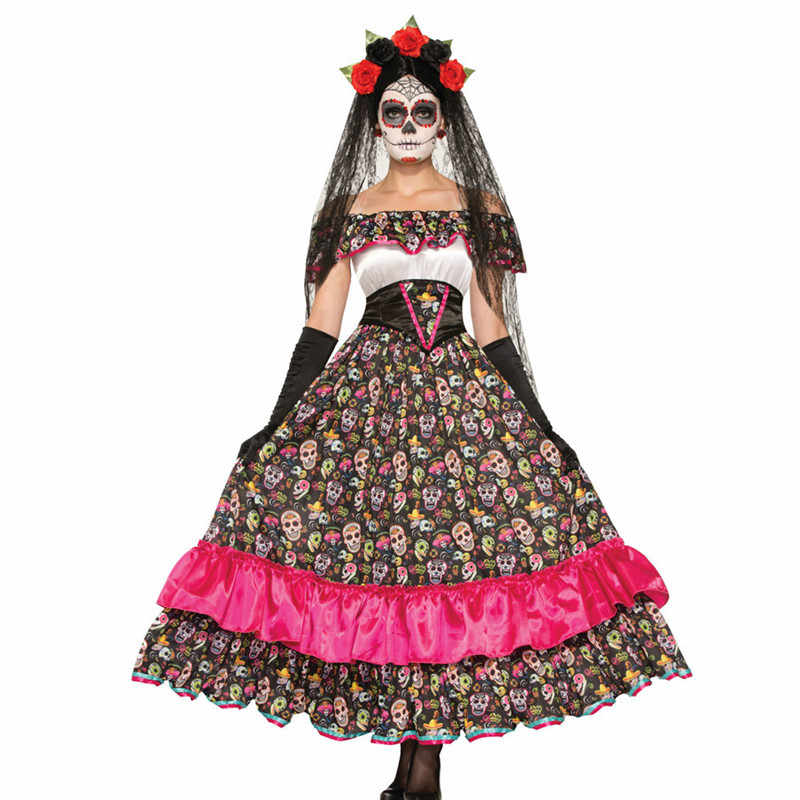 61a292aaa5d Adults Day of The Dead Costumes Flower Sugar Skull Senorita Dress Halloween  Costumes for Women Mexican Dia De Los Muertos Outfit