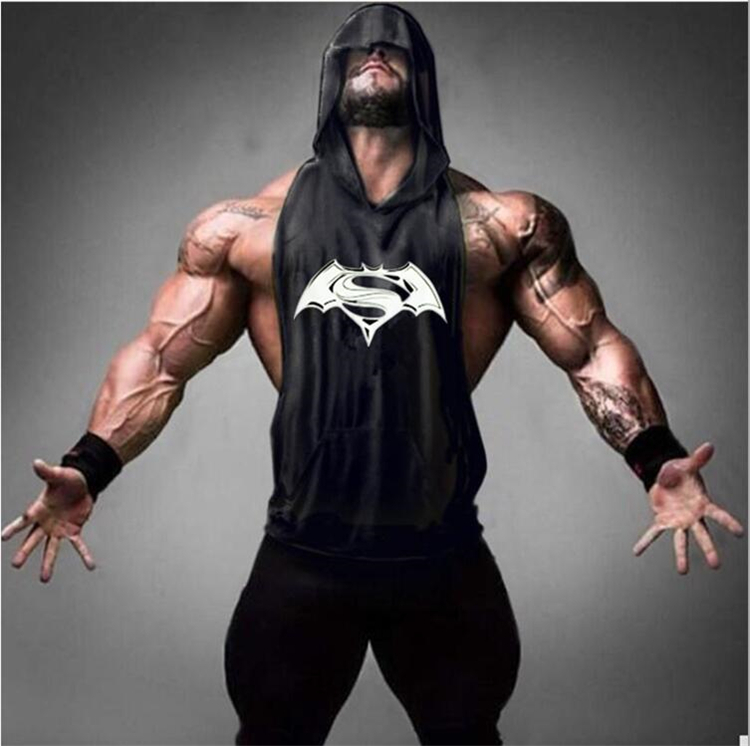 2019 Batman Vs Superman Sleeveless Hooded shirt men gym clothing bodybuilding stringer hoodie   tank     top