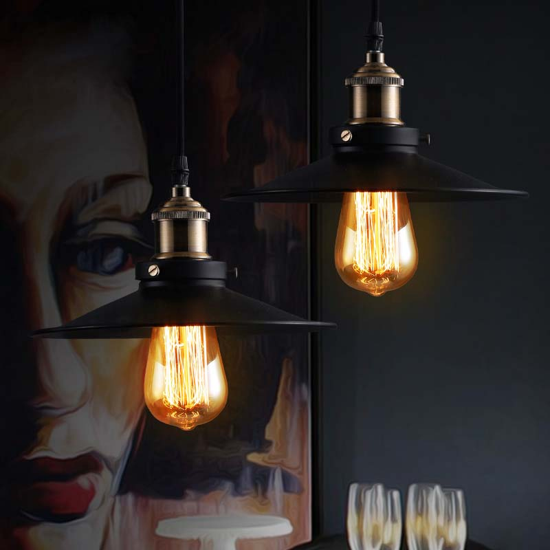 Loft rh industrial warehouse pendant lights american country lamps vintage lighting for restaurant bedroom home decoration black in pendant lights from