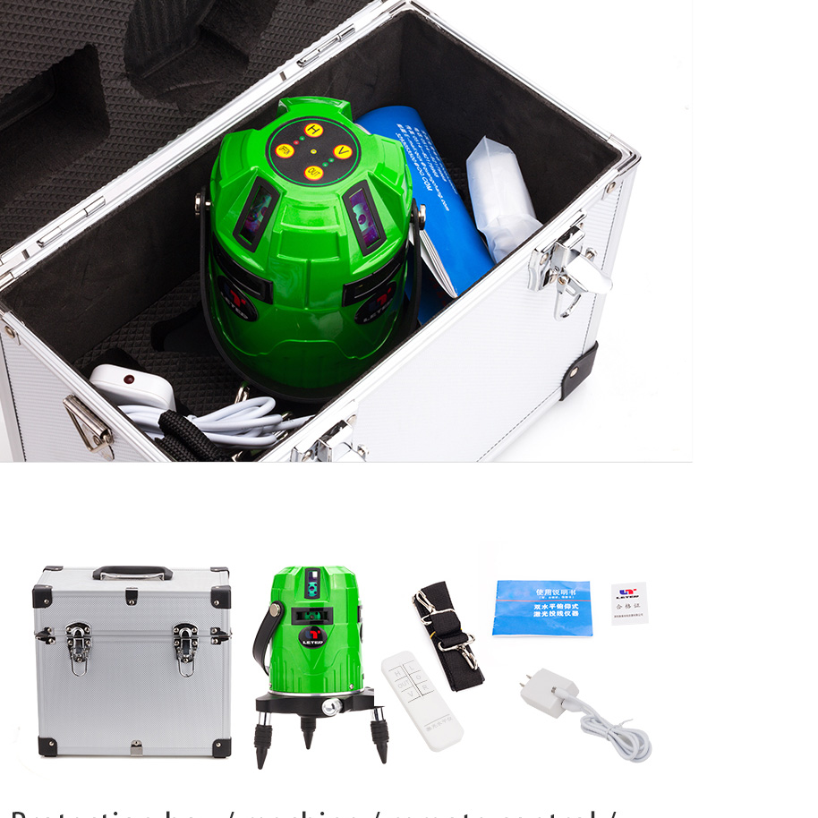 Leter 8 lines Cross line green laser level (4V4H electronic system) with Laser receiver outdoor receiver for level laser electronic leveling laser level 8 lines with precision detect rotary laser signal 50m g25