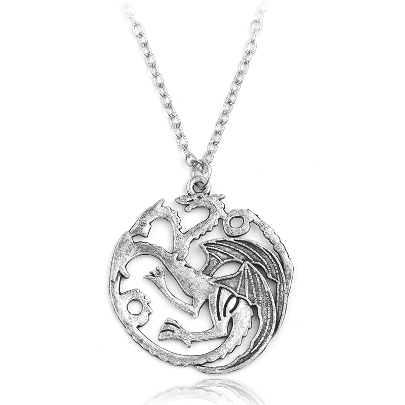 Game Of Thrones Pendant Daenerys Targaryen Blood and Fire Round Dragon Lannister Necklace Silver Alloy Jewelry